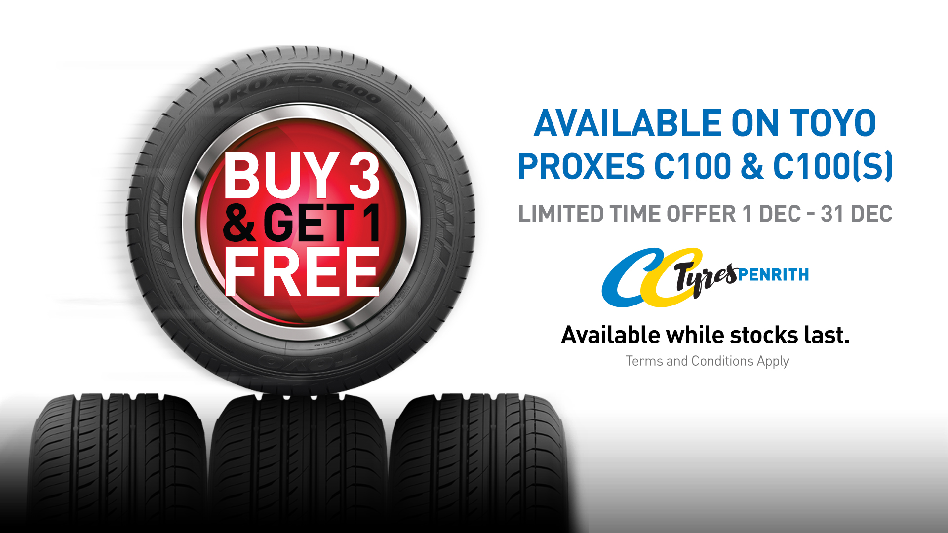 Buy 3 Get 1 Free on Toyo Proxes C100 & C100s
